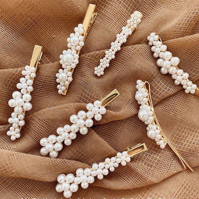 1/2 pinzas de pelo de Metal de perlas para mujer horquillas para niñas Horquillas para el cabello Barrette horquillas accesorios para el cabello envío gratis