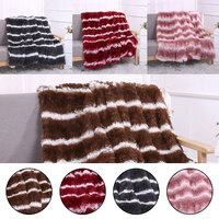 130*160cm/160*200cmHome textile Long Plush Shaggy Silky Blankets Faux Fur Throw Double Bedspread Red Summer Quilt Throw Blanket
