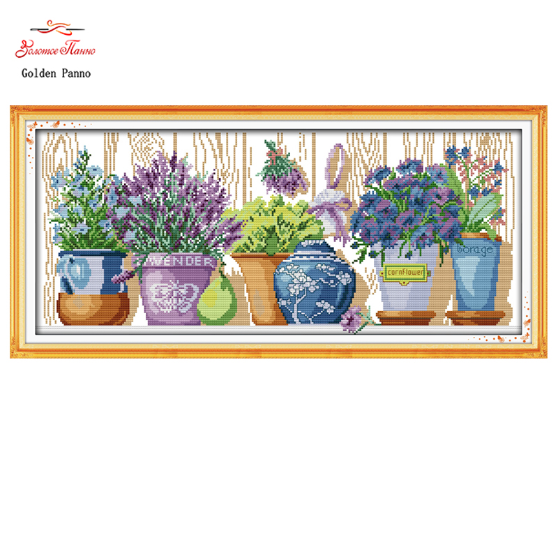 Golden Panno,pottings Colourful Flowers Painting Counted Printed On Canvas Dmc 11ct 14ct Chinese Cross Stitch Kits Embroidery 22 Suitable For Men Women And Children