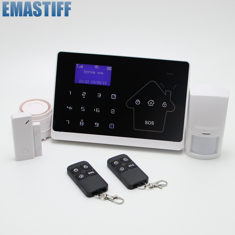 Android IOS APP 433Mhz Sensor Dual-network GSM PSTN Sim Call LCD Smart Dislay Touch Keypad Home Burglar Security Alarm wireless service call bell system popular in restaurant ce passed 433 92mhz full equipment watch pager 1 watch 7 call button