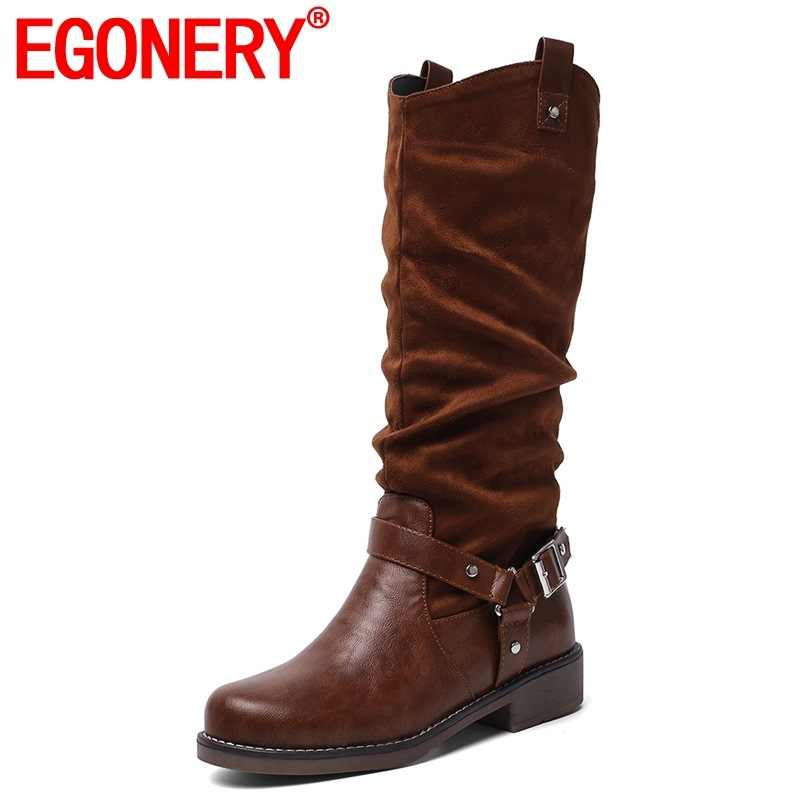 EGONERY kadın ayakkabı 2019 kış sıcak yeni moda akın yuvarlak ayak diz yüksek çizmeler dış orta topuklu platform ayakkabılar drop shipping