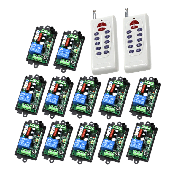 AC 110V 220V 10A 1CH wireless RF Remote Control Switch 2 Transmitter+ 12 Receiver For Access/door Control System SKU: 5455 ac 220v 1channel 10a rf wireless remote control switch system 4 receiver