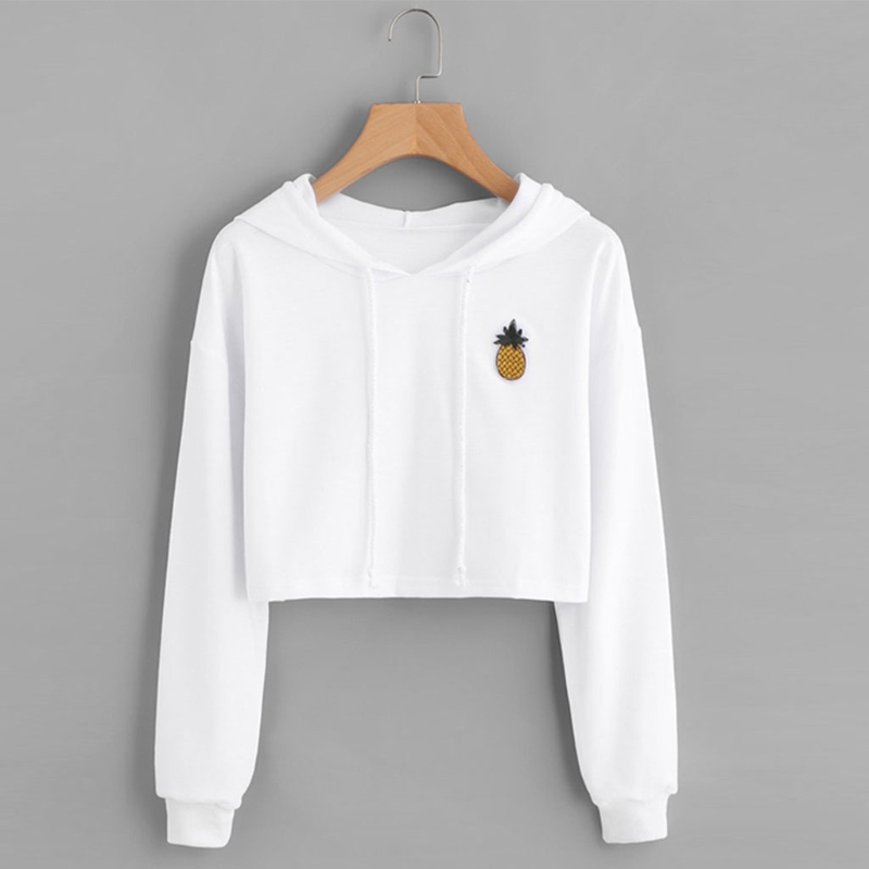 Fashion High Quality Women Teen Girls Cotton Cute Crop Top Printed Hoodie Pullover Top Sweatshirt 2018 New