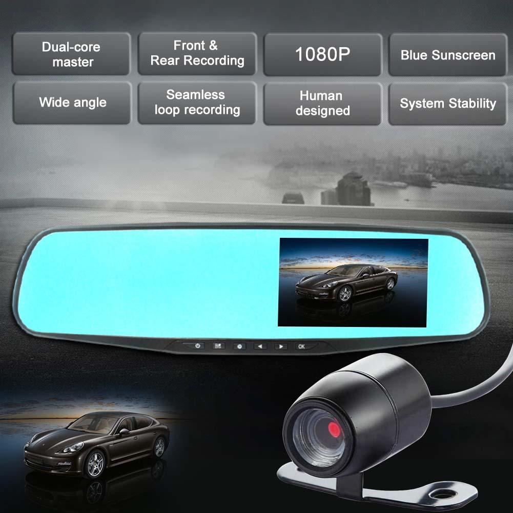 "4.3"" 1080P Dual Lens Car DVR Rearview Mirror + Car Camera ..."