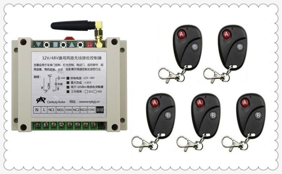 2017 New DC12V 24V 36V 48V 10A 2CH 2Channe RF wireless remote control switch System, 5 X Transmitter + 1 X Receiver,315/433 MHZ new dc12v 24v 2ch wireless remote