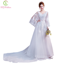 SSYFashion 2018 New Wedding Dress The Bride Sexy Transparent Long Butterfly Sleeved Lace Appliques Gown