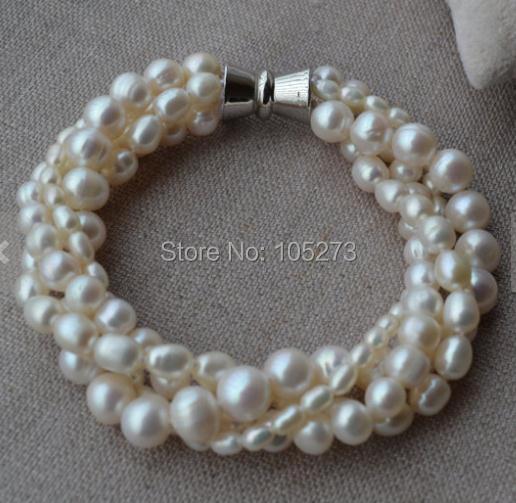 Новинка, жемчужный браслет, 4 ряда, 7,5 дюйма, 3-8 мм, белый цвет, Пресноводный Жемчуг, браслет, магнитная застежка, свадебные украшения для подружек невесты