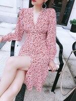 100% Silk Women Vivienne Nudite Love Heart Print Midi Dress Long Sleeve V Neck Front Buttons Sweet Long Dress