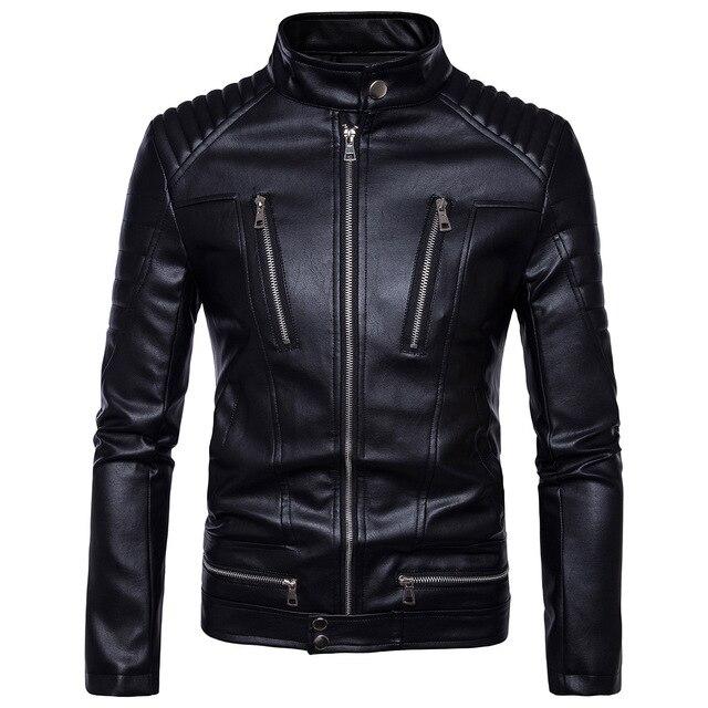 Veste cuir homme noir manche longue motif de crâne col