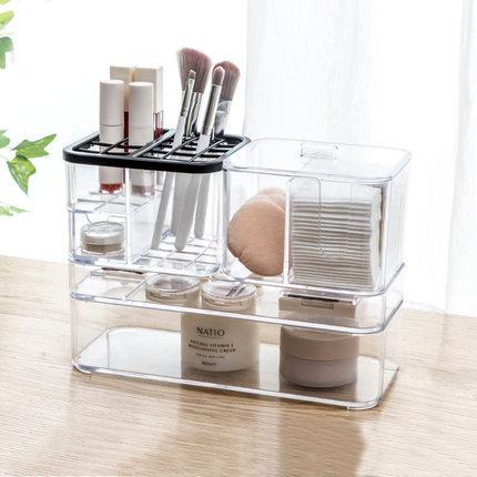 Desktop Makeup Storage Box Cosmetic Finishing Box Transparent Dressing Table Racks Lipstick Rack Plastic Multi-frame