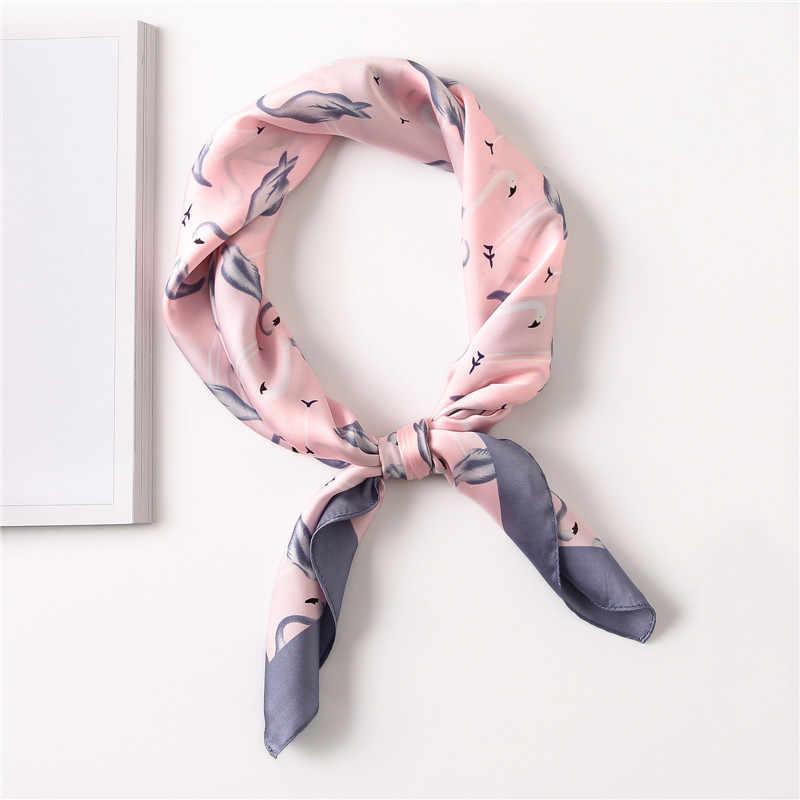 Animal Flamingo patrón cuadrado de seda chal bufanda impresión envuelve elegante Primavera Verano cuello pelo banda redecilla 70 70 Cm X 70 Cm