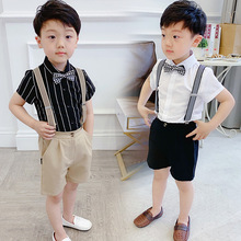 children summer suit short-sleeved shirt straps shorts two-piece children's costumes han edition  Fashion  boy clothes ALI 345 boy s new fake two piece pants summer fashion joker t shirt off two short sleeve children suit fashion kids clothes ali 350