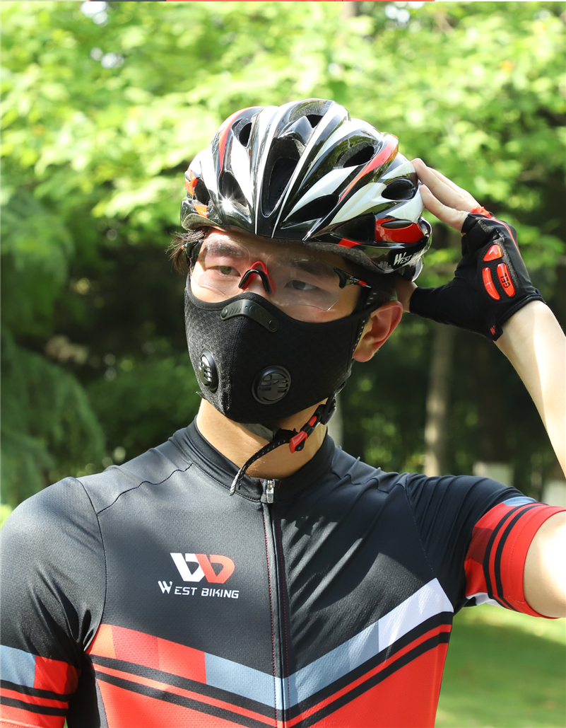 WEST BIKING N95 Antiviral Coronavirus Sport Face Mask With Filter Activated Carbon PM 2.5 Anti-Pollution Running Cycling Mask
