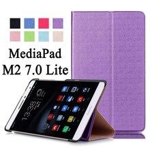 Para huawei mediapad m2 7.0 lite ple-703l/t2 7.0 pro lujo Soporte Flip Folio PU Leather Skin Estela Magnética Smart Cover caso