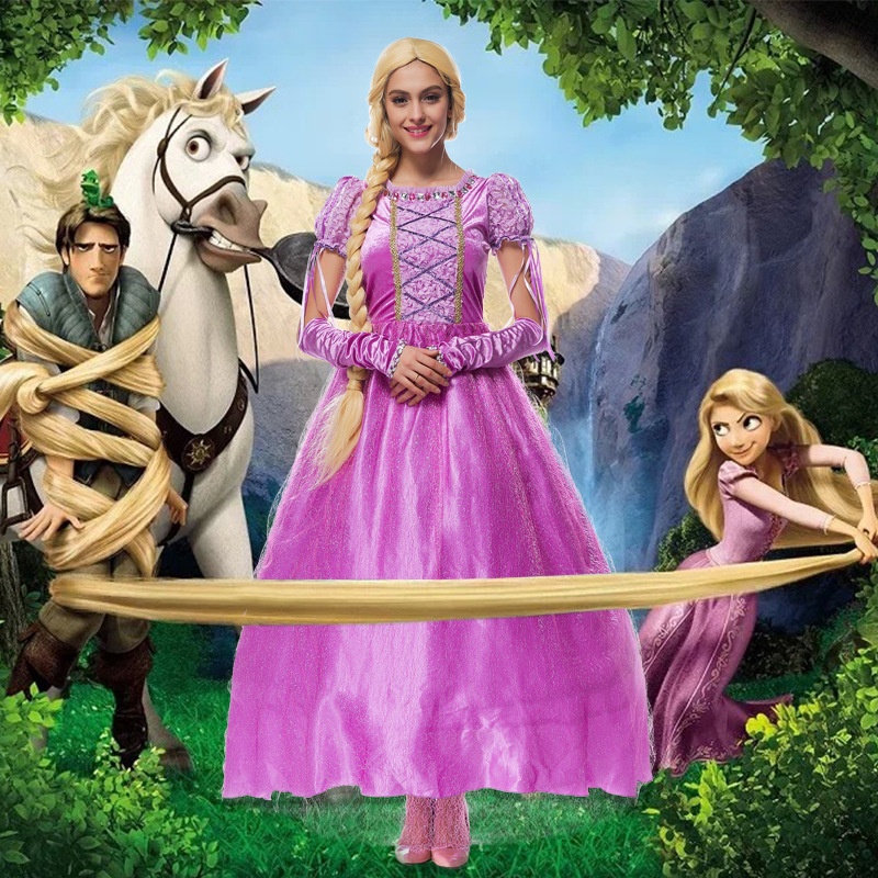 Adult Renaissance Rapunzel Princess Costume With Wig For Woman Halloween Party Cosplay Size M XL-in Movie u0026 TV costumes from Novelty u0026 Special Use on ...  sc 1 st  AliExpress.com & Adult Renaissance Rapunzel Princess Costume With Wig For Woman ...