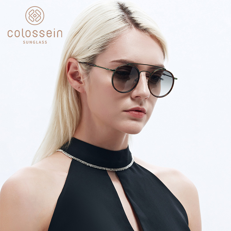COLOSSEIN Round Sunglasses Women Retro Glasses UV400 Fashion Sunglasses Double Nose Bridge Metal Acetate Frame Eyewear Tortoise