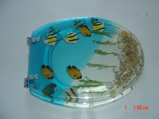 tropical fish toilet seat. Tropical fish clear polyresin toilet seat in Toilet Seat Covers from