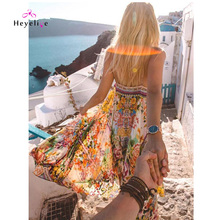 Bohemian Styles Sleeveless Summer Dress Women Hot Instagram Style Holiday Sexy  Vestido Vintage Beach Dresses Elegant 9b050331c6d8