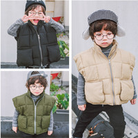 2-6 years Autumn Winter Girls Kids solid black green khaki warm Thick Vest (pick size color)
