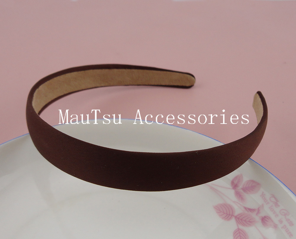 10PCS 20mm Dark Brown Satin Fabric Covered Plain Plastic Hair Headbands with velvet back at free shipping,BARGAIN for BULK