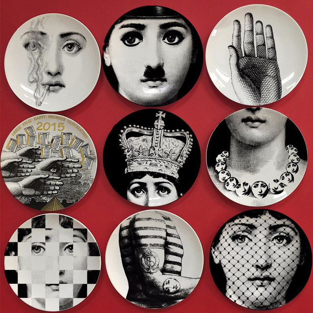 8 inches piero fornasetti plates decorative dishes hanging plate artwork bone china wall decoration porcelain wall