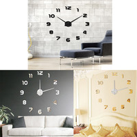 Fashion DIY Large 3D Number Mirror Wall Sticker Big Watch Home Decor Art Clock Very Fashion