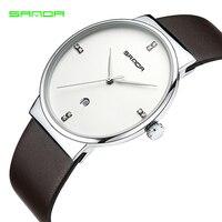 SANDA G Watch Top Brand Luxury Leather Casual Quartz Watch Men Army Military Sport Quartz Watch
