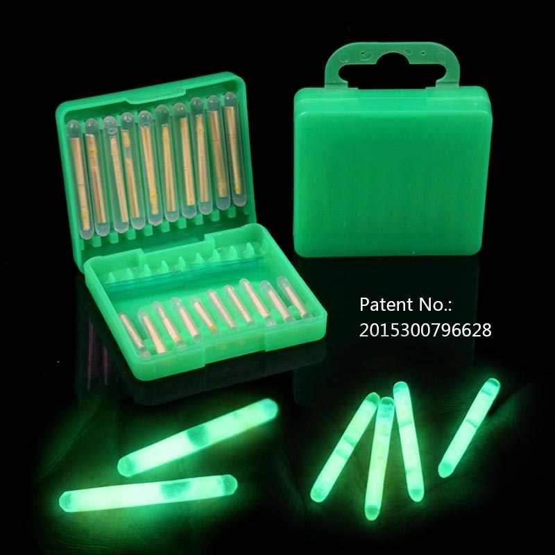 20 palos en caja Varita luminosa fluorescente de pesca luces de barra flotante de noche barra que brilla en la oscuridad para la punta de la varilla de pesca