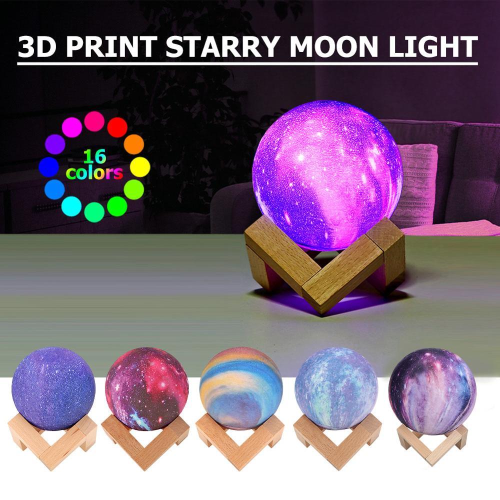 Event & Party Smart Drop Shipping 16 Colors Moon Light Sensor Energy-saving Night Light 3d Printing Bedside Creative Desk Lamp Led Light Moon Lamp