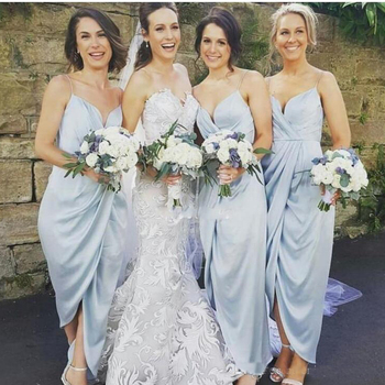 Elegant Spaghetti Straps Sheath Bridesmaid Dresses 2019 Ankle Length Sexy Maid Of Honor Gowns Cheap Wedding Guest Dresses фото