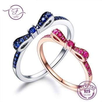 0edceb079e87 Anillos para las mujeres 100% Plata de Ley 925 joyería fina azul espinela  espumosos arco nudo anillo estilo coreano lindo para las niñas
