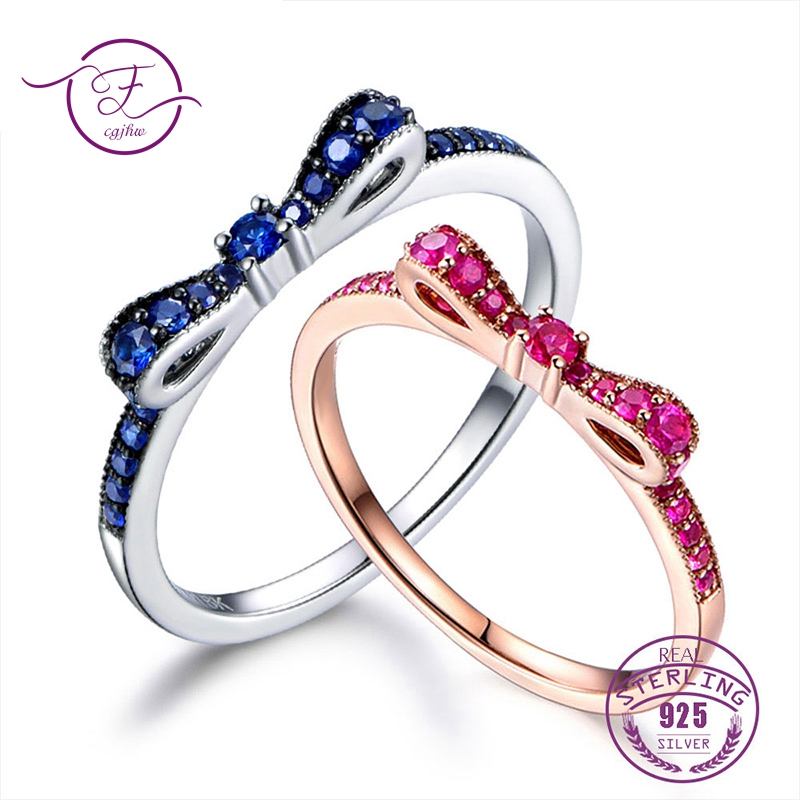 Rings For Women 100% Sterling Silver 925 Fine Jewelry Blue Spinel Sparkling Bow Knot Stackable Korean Style Cute For GirlsRings For Women 100% Sterling Silver 925 Fine Jewelry Blue Spinel Sparkling Bow Knot Stackable Korean Style Cute For Girls