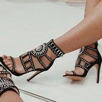 BORRUICE Women Pumps Zipper Sculpted Rhinestones High Heels Sandals Gladiator Roman Stiletto Boots Fashion Sexy Lady Party Shoes