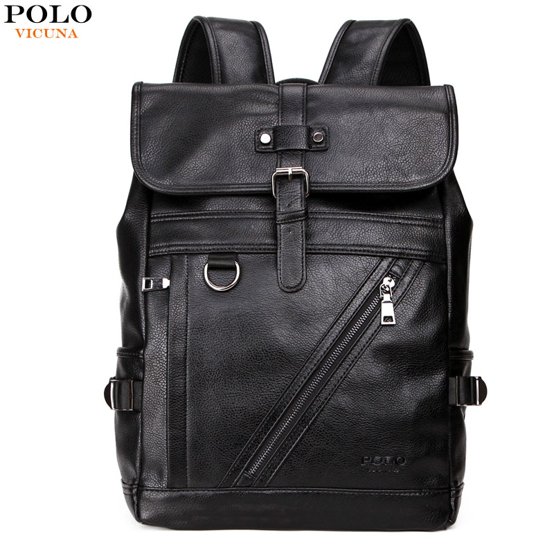 VICUNA POLO Large Capacity Men Leather Backpack For Travel Casual Backpack High Quality Man Travel Multifunction Daypack Bags large capacity casual man backpack