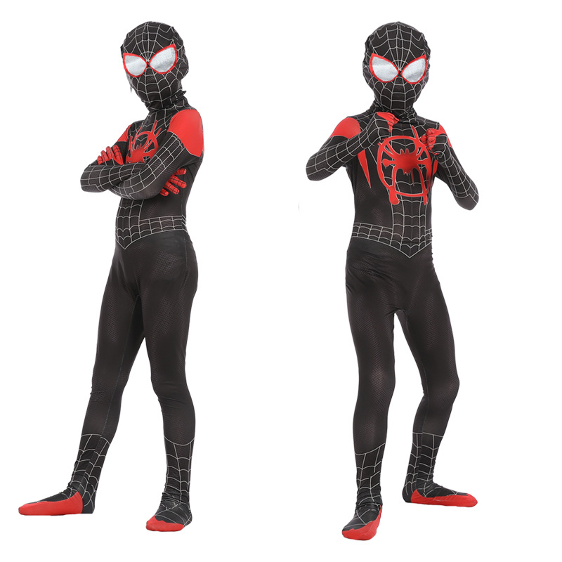 Kids SpiderMan Cosplay Costume Bodysuit  Children Spider-Man Into the Spider-Verse Miles Morales Pattern Jumpsuits