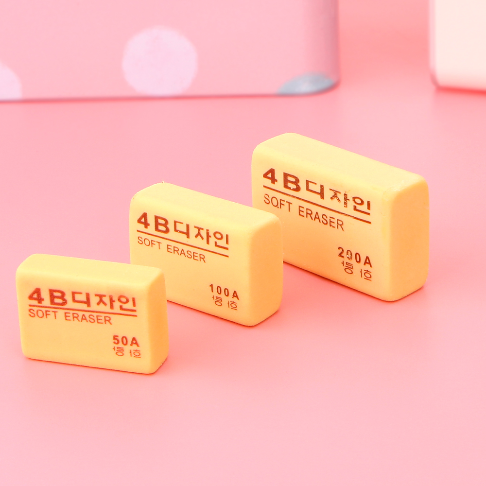 3Pcs/set New 4B Korean Art Painting Eraser Rubber 4B Eraser Primary Student Prizes Gift Stationery 50A 100A 200A E2001