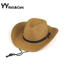 Senti Chapéu de Cowboy Para O Homem de Palha Chapéus de Verão Novo Estilo  de Largura Sunhats Brim Chapéu Ocidental Mulher Do Cha. f591932bd38