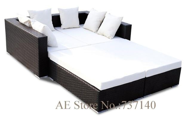 Ratán sofá cama Muebles de Jardín sofá de jardín al aire libre ...