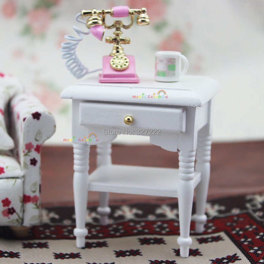 Marvelous 1 12 Scale Dollhouse Furniture #8: Sofa Side Coffee Table W/Drawer For Bedside Lamp White 1 12 Scale Dollhouse  Furniture Wooden Toys