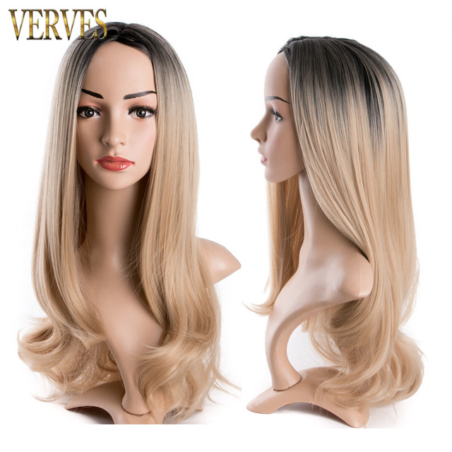 ombre synthetic wigs cheap blonde wigs synthetic sexy female wigs long wave Heat Resistant ombre Nice natural looking women wigs