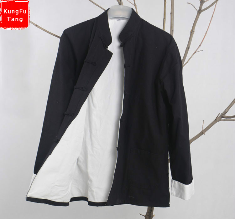 KungFuTang Black Traditional Chinese Coat Men's Vintage Kung Fu Jacket Cotton tang suit Overcoat wing chun tai chi tops цена 2017