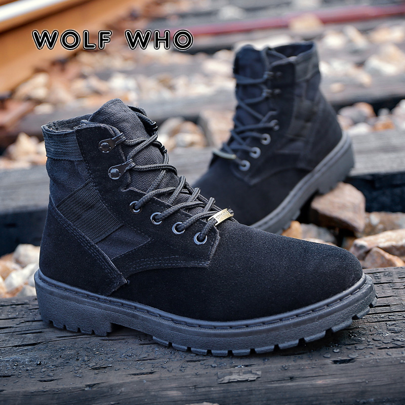 WOLF WHO 2019 Canvas Boots Men Martin Boots Man Leisure High Top Ankle Boots Male Casual Footwear Couple Boots buty meskie W-036WOLF WHO 2019 Canvas Boots Men Martin Boots Man Leisure High Top Ankle Boots Male Casual Footwear Couple Boots buty meskie W-036