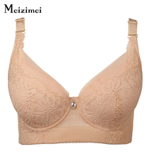 Mizimei Plus size bra underwear ultra thin full cup women sexy lace cotton push up bras adjustment lingerie E cup big size 3397