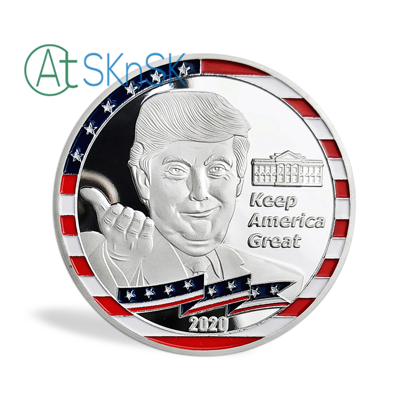 50pcs/lot Trump 2020 Keep America Great President Commemorative Challenge Coin Hollywood Walk of Fame Star Silver Plated Coins