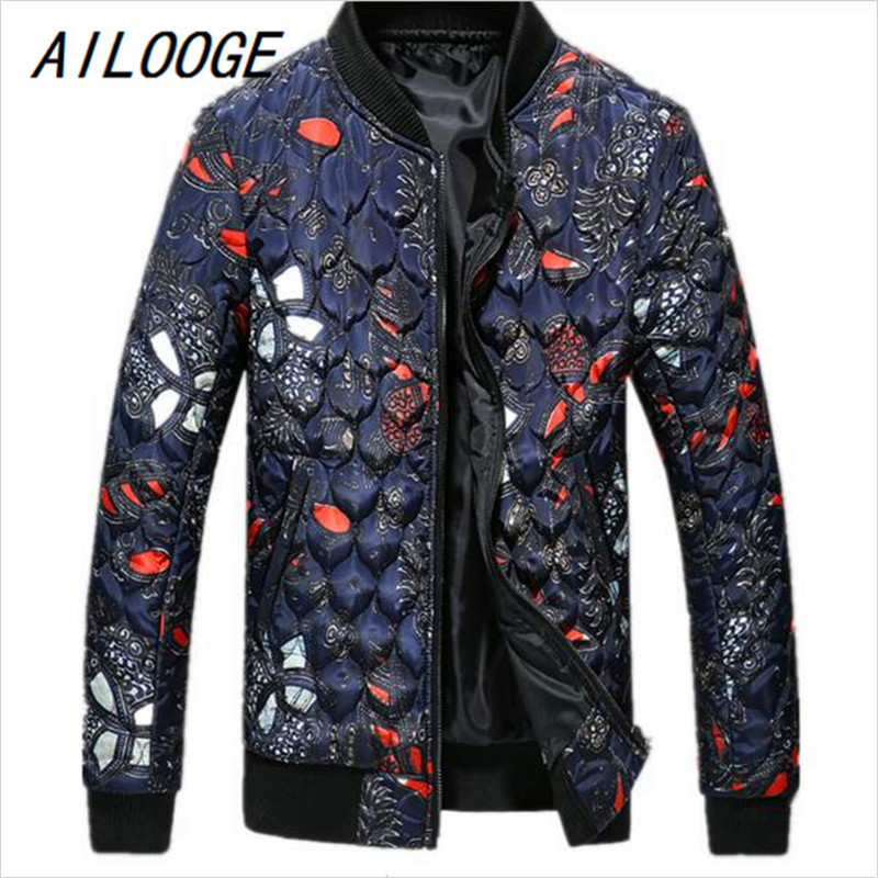 AILOOGE Winter Of 2017 Men With New Style Thickening Han Edition Brief Paragraph ICONS Printed Cotton Quilted Jacket Zipper Side fundamentals of physics extended 9th edition international student version with wileyplus set