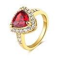 Jóias anel banhado a ouro mulheres moda festa de casamento romântico vermelho cristal Austríaco Africano anelli menina amante anel de dedo bague