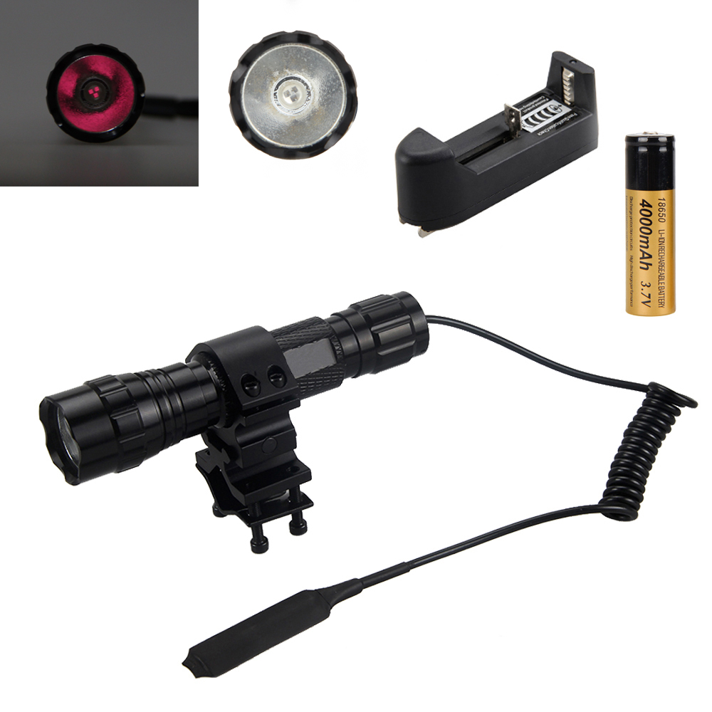 Newest 850nm Infrared Radiation IR Night Vision LED Flashlight Torch Hunting Light Lamp +Mount+ 18650+Charge