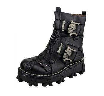 Botas de motociclista para hombre, calzado de invierno Retro de cuero de vaca auténtico, estilo Punk, Calavera, informal, equipo de protección