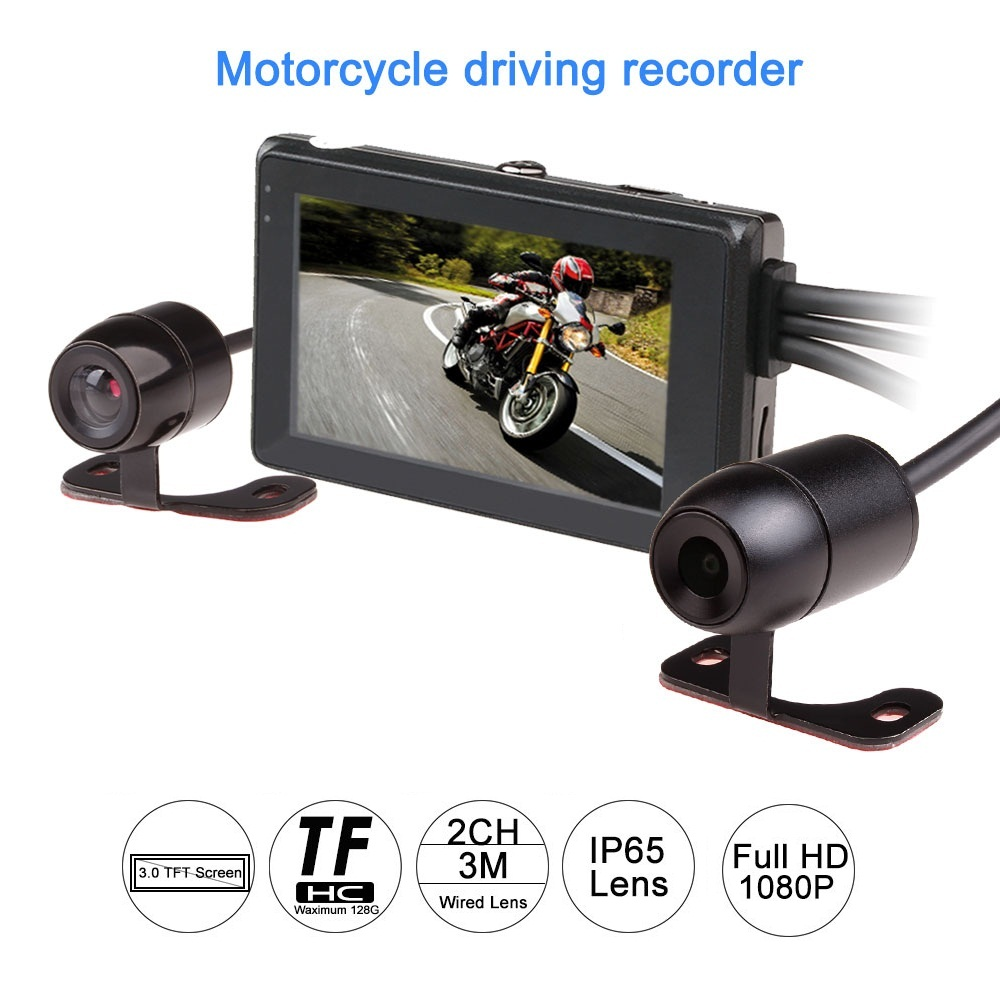 2017 latest T2 1080P motorcycle DVR motorbike video recorder front camera and rear view support GPS and G-sensor dual camera s1000rr turn led lights