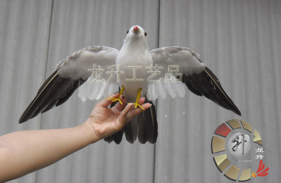ФОТО big creative simulation wings Seagull toy feather gray flying bird doll gift about 50x32cm